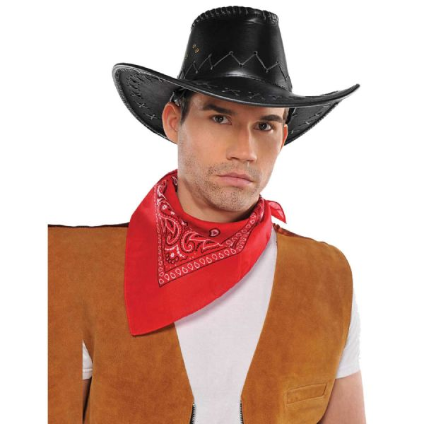 Adults Cowboy Black Faux Leather Hat Mens Fancy Dress Outfit Accessory